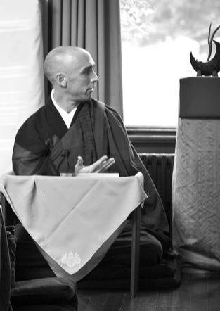 Fugan offering a Dharma Talk at the Grail