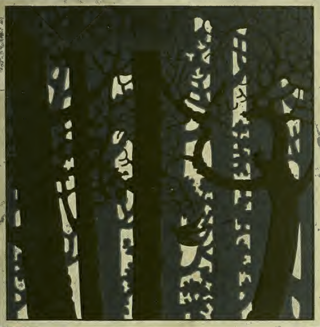 block print of woods in winter